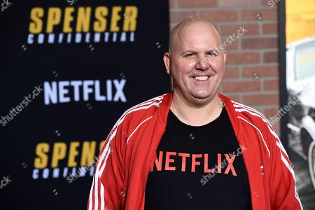 """James DuMont, a cast member in the Netflix film """"Spenser Confidential,"""" poses at the world premiere of the film at the Regency Village Theatre, in Los Angeles"""