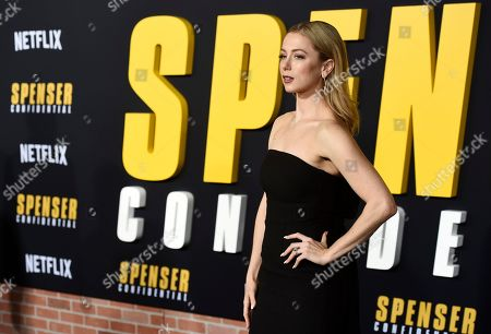 """Iliza Shlesinger, a cast member in the Netflix film """"Spenser Confidential,"""" poses at the world premiere of the film at the Regency Village Theatre, in Los Angeles"""