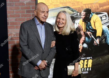 """Alan Arkin, Suzanne Newlander Arkin. Alan Arkin, a cast member in the Netflix film """"Spenser Confidential,"""" poses with his wife, Suzanne, at the world premiere of the film at the Regency Village Theatre, in Los Angeles"""