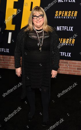 """Colleen Camp, a cast member in the Netflix film """"Spenser Confidential,"""" poses at the world premiere of the film at the Regency Village Theatre, in Los Angeles"""