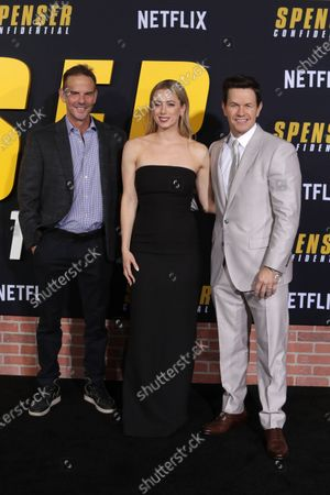 Peter Berg (L), Iliza Shlesinger (C) and Mark Wahlberg (R) arrive at the premiere of the Netflix film Spenser Confidential, at the Regency Village Theater in Los Angeles, California, USA, 27 February 2020.