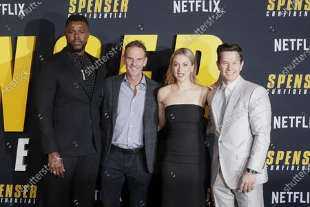 US-Tobagonian actor Winston Duke (L), US director Peter Berg (2-L), Iliza Shlesinger (2-R) and Mark Wahlberg (R) arrive at the premiere of the Netflix film Spenser Confidential, at the Regency Village Theater in Los Angeles, California, USA, 27 February 2020.