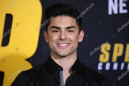 Diego Tinoco arrives at the premiere of the Netflix film Spenser Confidential, at the Regency Village Theater in Los Angeles, California, USA, 27 February 2020.