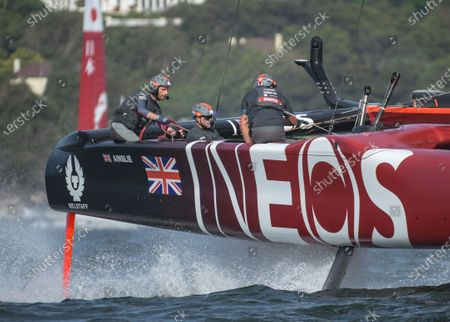 Great Britain SailGP Team helmed by Ben Ainslie in action during races on Race Day 2. Sydney SailGP, Event 1 Season 2 in Sydney Harbour, Sydney, Australia. 29 February 2020. Photo: Drew Malcolm for SailGP. Handout image supplied by SailGP