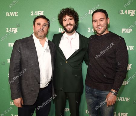 Stock Photo of Jeff Schaffer, Lil Dicky and Scooter Braun