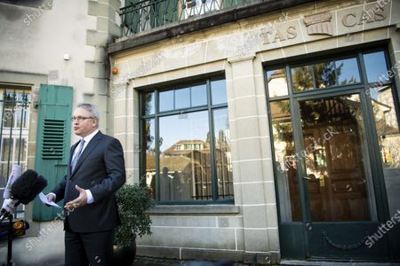 CAS Secretary General Matthieu Reeb addresses journalists for a statement to announce the decision taken in the arbitration procedure of the case of Chinese swimmer Sun Yang, in front of the Court of Arbitration for Sport (CAS) in Lausanne, Switzerland, 28 February 2020. China's multiple Olympic swimming champion Sun Yang, 28, has been banned from competing for eight years, CAS announced.