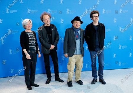 Stock Picture of Producer Catherine Dussart, composer Marc Marder, director Rithy Panh, and writer Christophe Bataille attend the 'Irradies' (Irradiated) photocall during the 70th annual Berlin International Film Festival (Berlinale), in Berlin, Germany, 28 February 2020. The movie is presented in the Official Competition at the Berlinale that runs from 20 February to 01 March 2020.