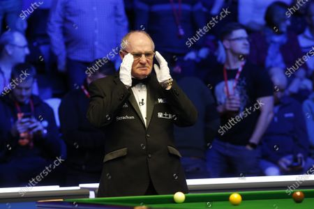 29th February 2020; Waterfront, Southport, Merseyside, England; World Snooker Championship, Coral Players Championship; Match referee Leo Scullion (SCO) looks on during tonight's semi final match between Shaun Murphy (ENG) and Yan Bingtao (CHN)