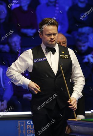 Stock Image of 29th February 2020; Waterfront, Southport, Merseyside, England; World Snooker Championship, Coral Players Championship; Shaun Murphy (ENG) lines up his next shot during tonight's semi final match versus Yan Bingtao (CHN)