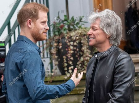 Stockafbeelding van Prince Harry and Jon Bon Jovi