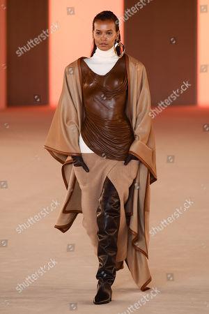 Stock Image of Liya Kebede on the catwalk