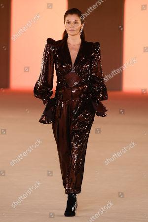 Helena Christensen on the catwalk