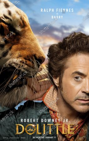 Dolittle (2020) Poster Art. Tiger Barry (Ralph Fiennes) and Robert Downey Jr. as Dr. John Dolittle