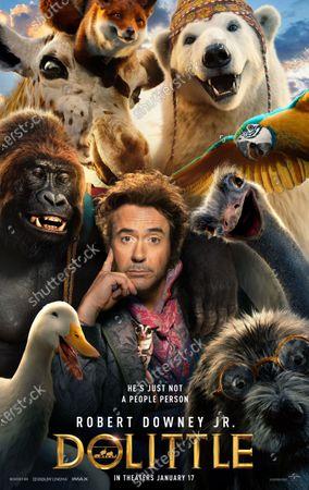 Dolittle (2020) Poster Art. Duck Dab-Dab (Octavia Spencer), Gorilla Chee-Chee (Rami Malek), Giraffe Betsy (Selena Gomez), Fox Tutu (Marion Cotillard), Polar Bear Yoshi (John Cena), Parrot Polynesia (Emma Thompson), Ostrich Plimpton (Kumail Nanjiani), Dog Jip (Tom Holland), Sugar Glider Mini (Nick A. Fisher) and Robert Downey Jr. as Dr. John Dolittle
