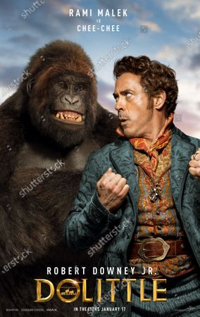 Stock Image of Dolittle (2020) Poster Art. Gorilla Chee-Chee (Rami Malek) and Robert Downey Jr. as Dr. John Dolittle