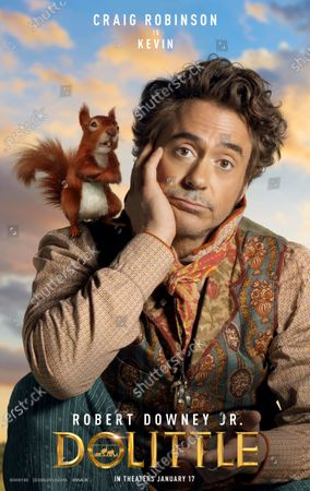 Dolittle (2020) Poster Art. Squirrel Kevin (Craig Robinson) and Robert Downey Jr. as Dr. John Dolittle