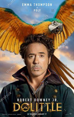 Dolittle (2020) Poster Art. Robert Downey Jr. as Dr. John Dolittle and Parrot Polynesia (Emma Thompson)
