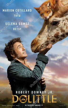 Dolittle (2020) Poster Art. Robert Downey Jr. as Dr. John Dolittle as Giraffe Betsy (Selena Gomez)
