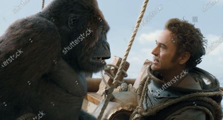 Gorilla Chee-Chee (Rami Malek) and Robert Downey Jr. as Dr. John Dolittle