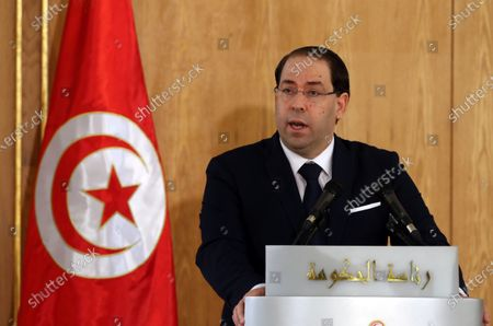 Outgoing Tunisian Prime Minister Youssef Chahed speaks during a ceremony on the occasion of assuming office for the new government, Tunis, Tunisia, 28 February 2020. The government of Elyes Fakhfakh won a parliament confidence vote by 129 to 77 against.