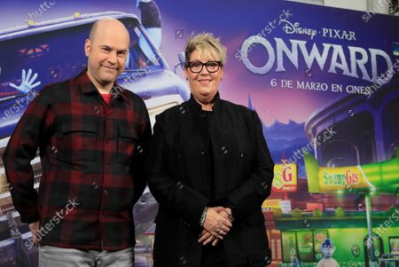 Dan Scanlon (L) and US producer Kori Rae (R) attend the premiere of the new Disney Pixar animated movie 'Onward' in Madrid, Spain, 28 February 2020. The animation film, that features the first LGTB character in a Disney animated movie, will be release in Spanish cinemas on 06 March 2020.