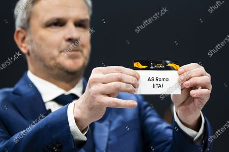 German former soccer player Dietmar Hamann shows a ticket of AS Roma during the UEFA Europa League 2019/20 Round of 16 draw, at the UEFA Headquarters in Nyon, Switzerland, 28 February 2020.