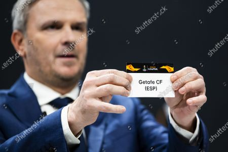 German former soccer player Dietmar Hamann shows a ticket of Getafe CF during the UEFA Europa League 2019/20 Round of 16 draw, at the UEFA Headquarters in Nyon, Switzerland, 28 February 2020.