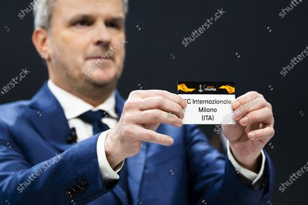 German former soccer player Dietmar Hamann shows a ticket of FC Inter Milan during the UEFA Europa League 2019/20 Round of 16 draw, at the UEFA Headquarters in Nyon, Switzerland, 28 February 2020.