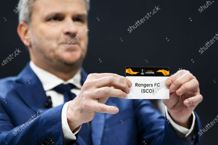 Stock Photo of German former soccer player Dietmar Hamann shows a ticket of Rangers FC during the UEFA Europa League 2019/20 Round of 16 draw, at the UEFA Headquarters in Nyon, Switzerland, 28 February 2020.