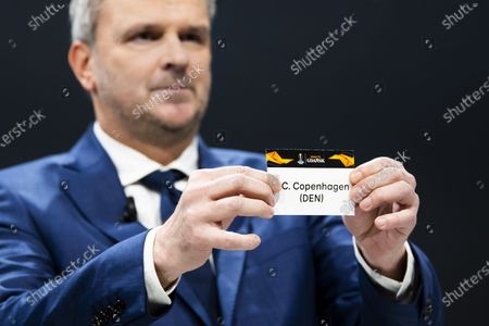 German former soccer player Dietmar Hamann shows a ticket of FC Copenhagen during the UEFA Europa League 2019/20 Round of 16 draw, at the UEFA Headquarters in Nyon, Switzerland, 28 February 2020.