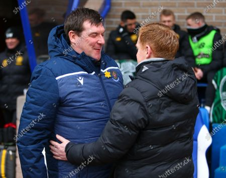 1st March 2020; McDairmid Park, Perth, Perth and Kinross, Scotland; Scottish Premiership Football, St Johnstone versus Celtic; St Johnstone manager Tommy Wright greets Celtic Manager Neil Lennon
