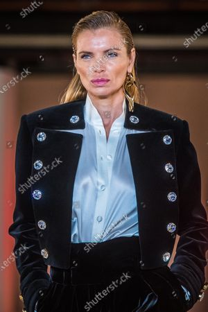 Spanish model Esther Canadas presents a creation by French designer Olivier Rousteing for Balmain fashion house during the Paris Fashion Week, in Paris, France, 28 February 2020. The presentation of the Fall-Winter 2020/21 women's collection runs from 24 February to 03 March 2020.