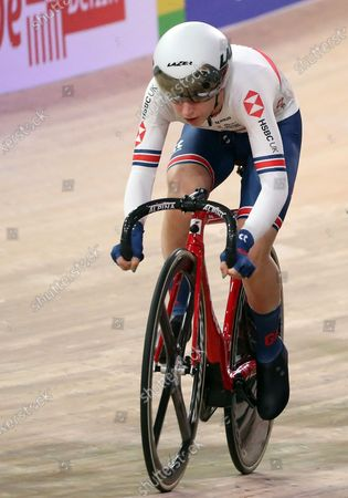 Laura Kenny of team Britain during the Women's Omnium Scratch Race 1/4 at the UCI Track Cycling World Championships at the Velodrom in Berlin, Germany, 28 February 2020.
