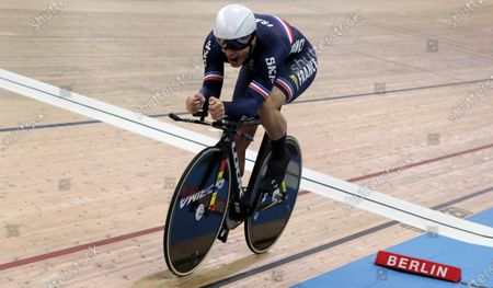 Michael D'Almeida of France in action during the Men's 1Km Time Trial Final Race at the UCI Track Cycling World Championships in Berlin, Germany 28 February 2020.