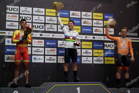 Stock Picture of (from left) Silver medalist Sebastian Mora of Spain, Gold medalist Corbin Strong of New Zealand and Bronze medalist Roy Eefting of Netherlands during the medal ceremony for the Men's Points Race at the UCI Track Cycling World Championships in Berlin, Germany 28 February 2020.