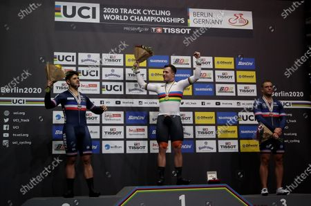(from left) Silver medalist Quentin Lafargue of France, Gold medalist Sam Ligtlee of Netherlands and Bronze medalist Michael D'Almeida of France during the medal ceremony for the Men's 1Km Time Trial Final Race at the UCI Track Cycling World Championships in Berlin, Germany 28 February 2020.