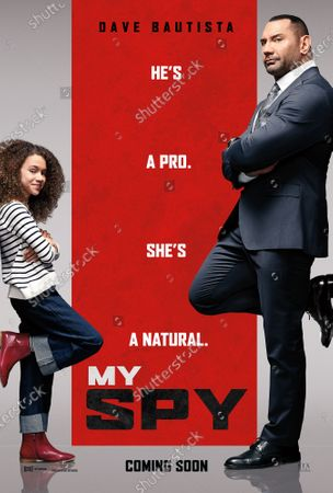 My Spy (2020) Poster Art. Chloe Coleman as Sophie and Dave Bautista as JJ
