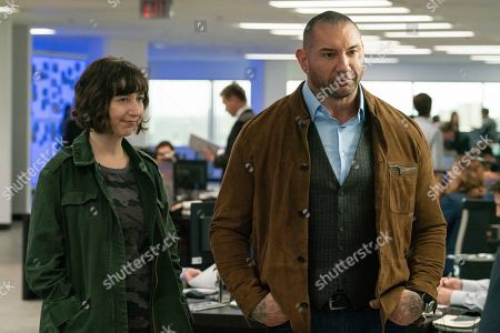 Stock Image of Kristen Schaal as Bobbi and Dave Bautista as JJ