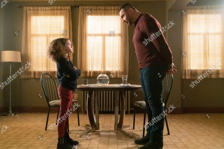 Chloe Coleman as Sophie and Dave Bautista as JJ