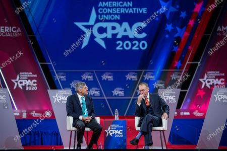 Stephen Moore (L) of the Heritage Foundation speaks with Acting White House Chief of Staff Mick Mulvaney (R) at the 47th annual Conservative Political Action Conference (CPAC) at the Gaylord National Resort & Convention Center in National Harbor, Maryland, USA, 28 February 2020. The American Conservative Union's CPAC continues through 29 February.