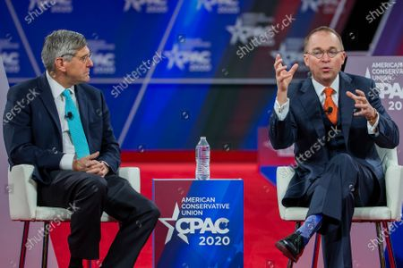 Stock Picture of Stephen Moore (L) of the Heritage Foundation speaks with Acting White House Chief of Staff Mick Mulvaney (R) at the 47th annual Conservative Political Action Conference (CPAC) at the Gaylord National Resort & Convention Center in National Harbor, Maryland, USA, 28 February 2020. The American Conservative Union's CPAC continues through 29 February.