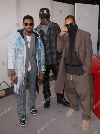 Usher (L), Virgil Abloh (C) and guest