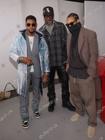 Stock Image of Usher (L), Virgil Abloh (C) and guest