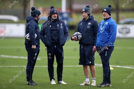(L to R) David Edge - Scotland team manager, Gregor Townsend - Scotland head coach, Mike Blair assistant coach and Steve Tandy - assistant coach.