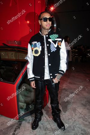 Tyga poses prior to the Off White fashion collection during Women's fashion week Fall/Winter 2020/21 presented in Paris