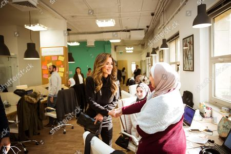Queen Rania during a visit to Tamatem and Altibbi Health tech companies at the King Hussein Business Park