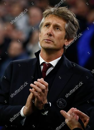 Ajax's CEO and former goalkeeper Edwin van der Sar is seen prior to a round of 32, second leg, Europa League soccer match between Ajax and Getafe at the Johan Cruyff ArenA in Amsterdam, Netherlands