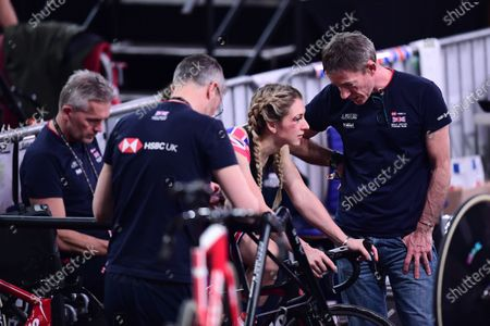 Stock Photo of Laura Kenny talks with Stephen Park following her crash in the Omnium Scratch Race.