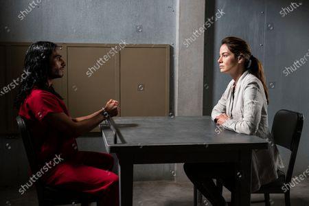 Mehdi Dehbi as Al-Masih and Michelle Monaghan as Eva Geller