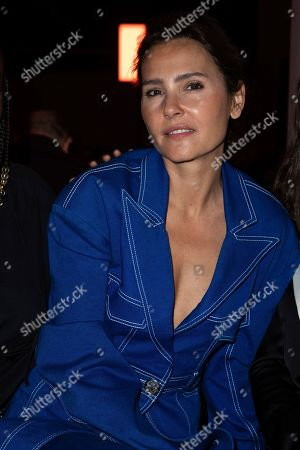 Virginie Ledoyen poses for photographers prior to the Balmain fashion collection during Women's fashion week Fall/Winter 2020/21 presented in Paris